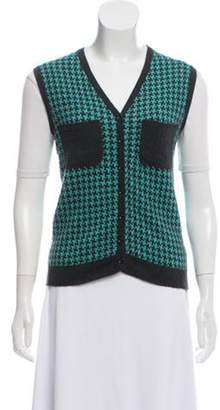 Roland Mouret Cashmere Houndstooth Button-Up Vest Turquoise Cashmere Houndstooth Button-Up Vest