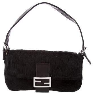 Fendi Leather-Trimmed Ponyhair Baguette