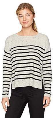 Design History Women's Side Tab Detail and Stripe Sweater