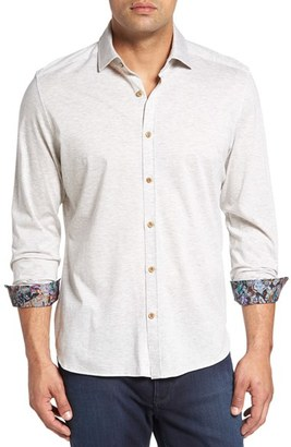 Stone Rose Heather Jersey Knit Sport Shirt (Big & Tall) $165 thestylecure.com
