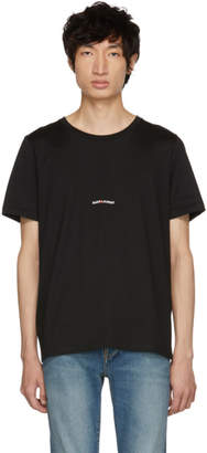 Saint Laurent Black Rive Gauche Logo T-Shirt