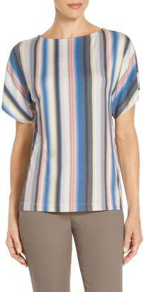 St. John Blurred Multi Stripe Print T-Shirt