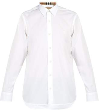 Burberry William Logo Embroidered Cotton Blend Shirt - Mens - White
