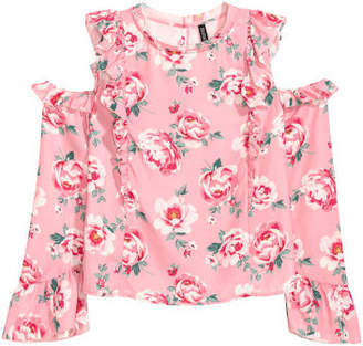 H&M Open-shoulder Blouse - Pink