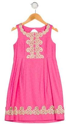 Lilly Pulitzer Girls' Appliqué Pleated Dress