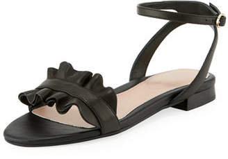 Taryn Rose Vesta Ruffle Leather Flat Sandals