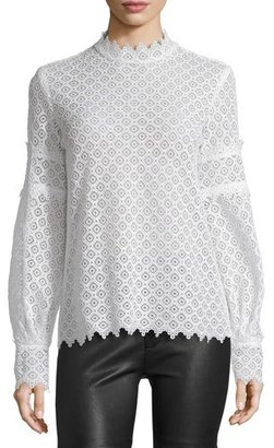 Iro Amia Long-Sleeve Lace Top, Ecru $219 thestylecure.com