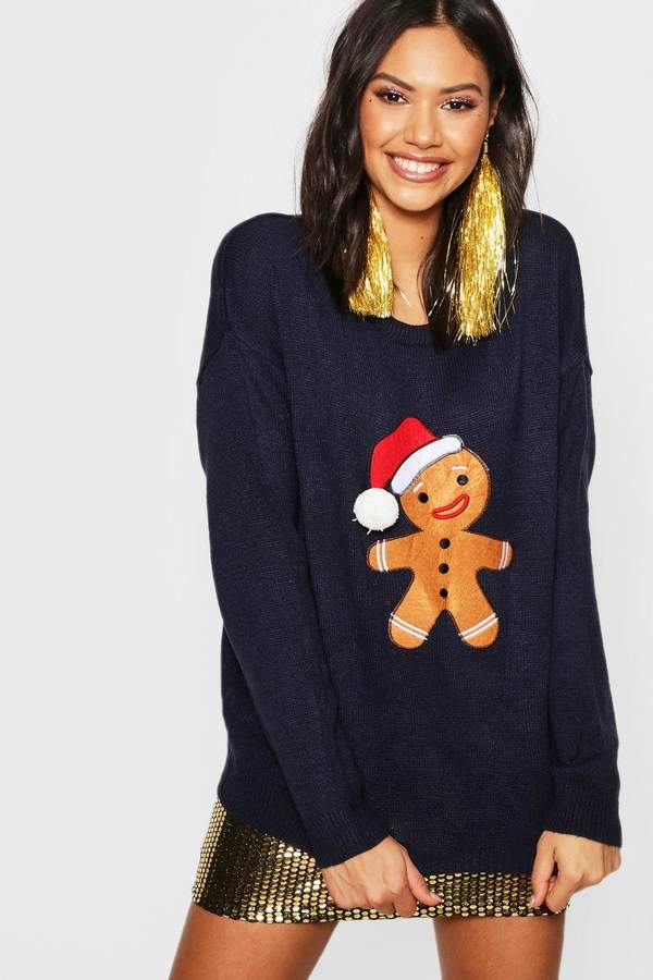 Gingerbread Man Applique Jumper With PomPom