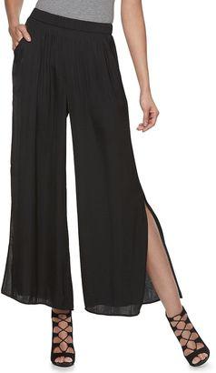 Women's Jennifer Lopez Vented Wide-Leg Soft Pants $54 thestylecure.com
