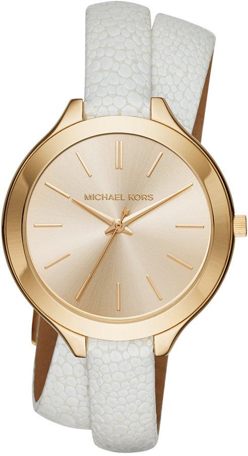 MICHAEL Michael KorsMichael Kors Women's Slim Runway White Leather Double-Wrap Strap Watch 42mm MK2477
