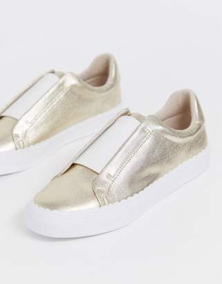 Asos Design DESIGN Devoted slip on sneakers in champagne gold