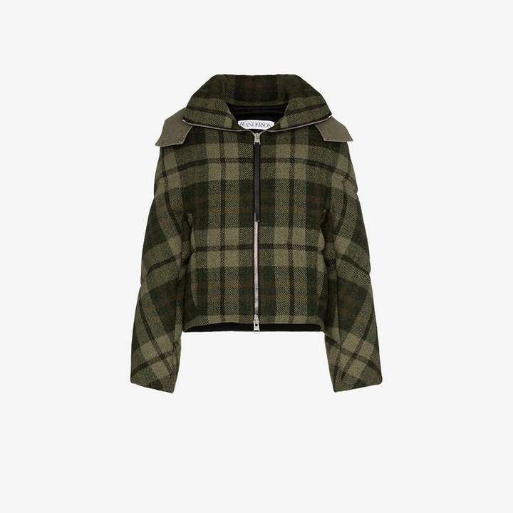 check hooded puffer jacket