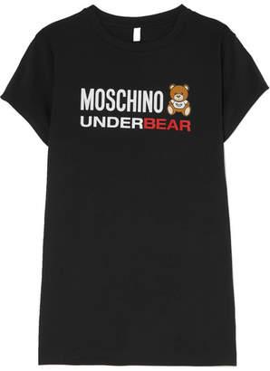 Moschino Printed Stretch-cotton Jersey Dress - Black