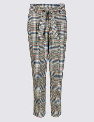 M&S Collection Checked Tapered Leg Trousers