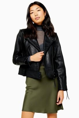 Topshop Womens Leather Biker Jacket - Black