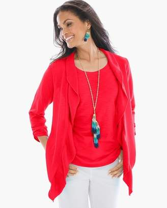 Chico's Chicos Solid Ruffle Cardigan