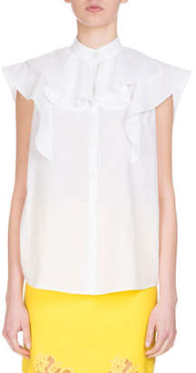 Givenchy Sleeveless Poplin Ruffle Blouse, White