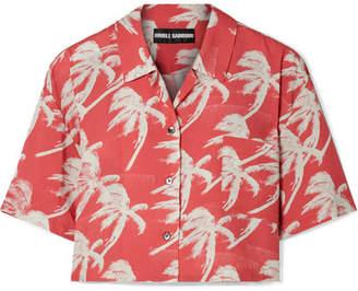 Double Rainbouu - Cropped Printed Poplin Shirt - Papaya