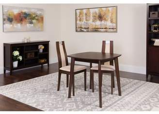 Flash Furniture Stonington 3 Piece Espresso Wood Dining Table Set with Curved Slat Wood Dining Chairs - Padded Seats