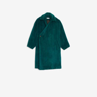 Balenciaga Wrap Coat in dark green fake fur