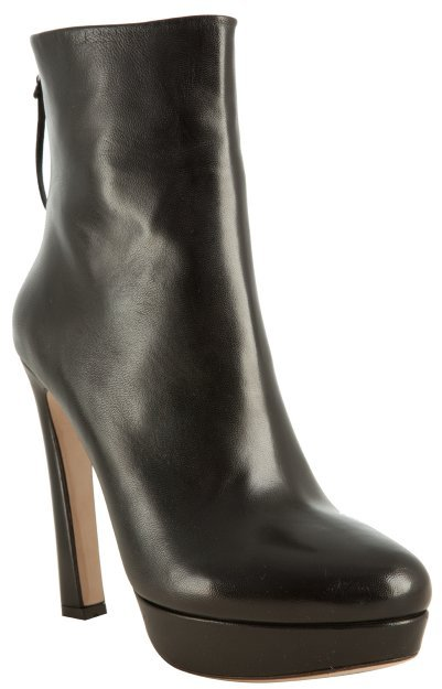 Miu black leather platform ankle boots