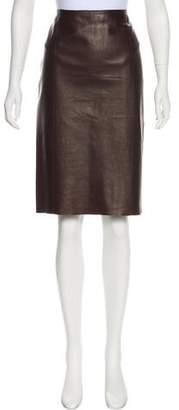 Akris Leather Pencil Skirt