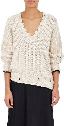 IRO Women's Ebbo Distressed Cotton Sweater $400 thestylecure.com
