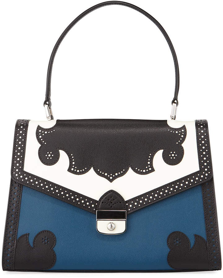 Longchamp Efrontee Brogue Top Handle Bag - MEDIUM BLUE - STYLE