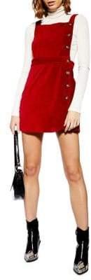 Topshop PETITE Buttoned Corduroy Mini Pinafore Dress