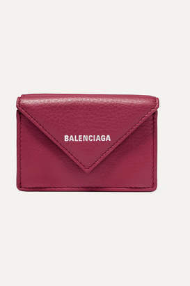 Balenciaga Papier Mini Printed Textured-leather Wallet - Burgundy