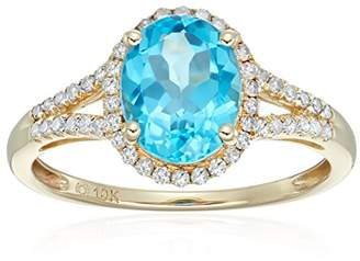 10k Yellow Gold Swiss Blue Topaz and Diamond Oval Halo Engagement Ring (1/5cttw