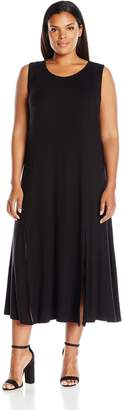 Tiana B Women's Plus Size Jersey Slit Midi Tank Dress