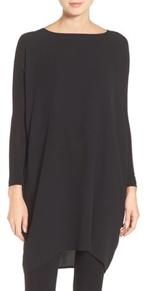 Eileen Fisher Silk Crepe Georgette Bateau Neck Tunic $308 thestylecure.com