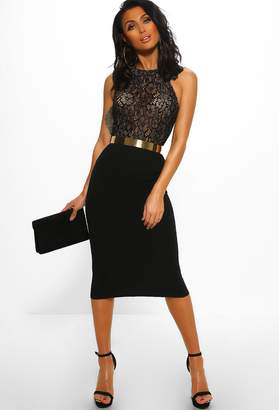 Pink Boutique Hollywood Dreamer Black Lace Bodycon Midi Dress