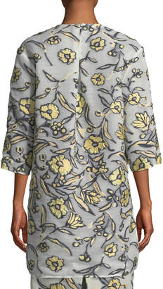 St. John Painted Floral 3/4-Sleeve Organza Topper