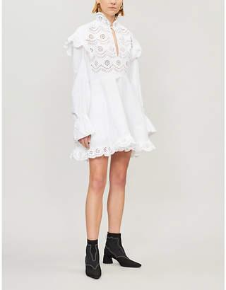 Philosophy di Lorenzo Serafini Broderie anglaise-panel cotton-poplin mini dress