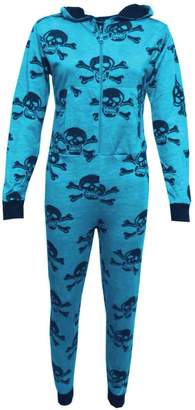 a2z4kids Girls Boys Onesie Kids Skull & Cross Bone Onesies All in One Jumpsuit PJ's 5-13Y