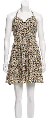 Elizabeth and James Printed Silk Halter Dress