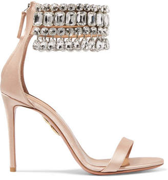 Aquazzura Gem Palace Crystal-embellished Satin Sandals - Blush