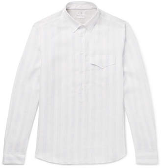 Brunello Cucinelli Button-Down Collar Striped Linen Shirt