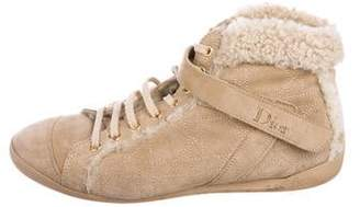 Christian Dior Sprint Shearling-Trimmed Sneakers