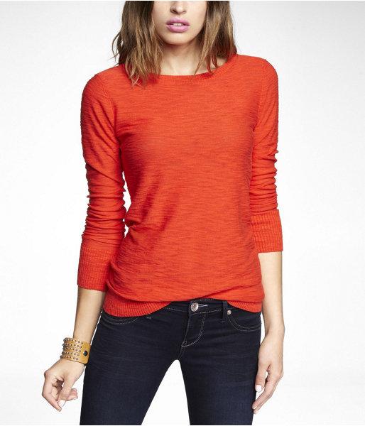 Express Bateau Neck Slub Knit Sweater