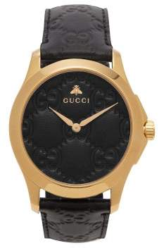 Gucci G Timeless Gg Embossed Leather Watch - Mens - Black Gold