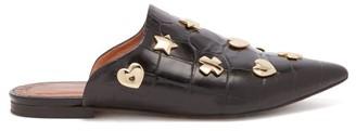 Osman Heidi Studded Crocodile Effect Leather Mules - Womens - Black
