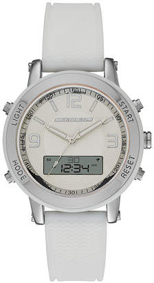 c1383e34ee0 Skechers Womens White Silicone Analog Digital Chronograph Watch