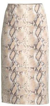 Lafayette 148 New York Casey Snake-Print Suede Pencil Skirt