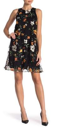 ECI Floral Embroidered Shift Dress