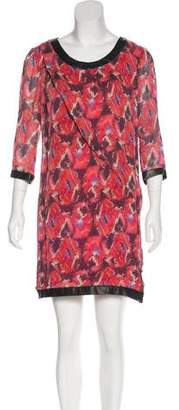 Thakoon Leather-Trimmed Printed Dress