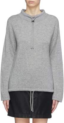Theory Drawstring mock neck cashmere sweater