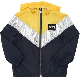 N°21 Hooded Color Blocked Nylon Jacket